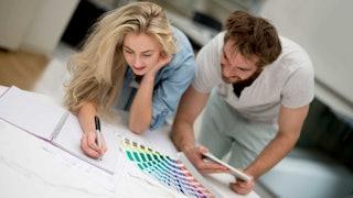Couple Choosing Paint Colours Min