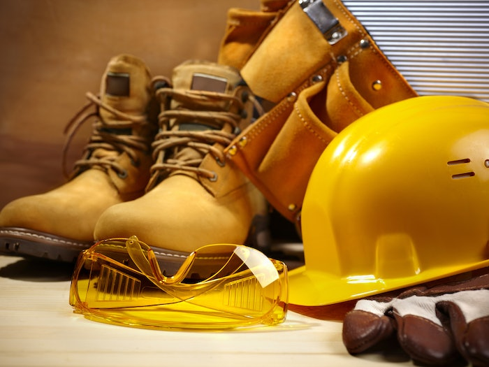 Safety boots and hard hat