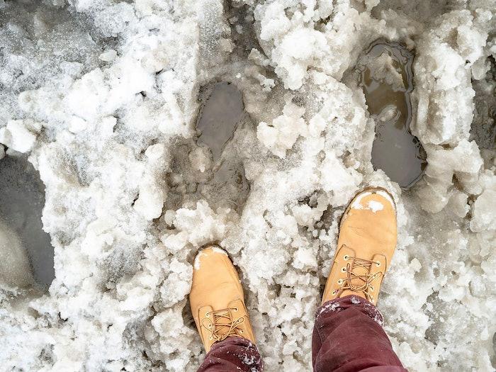 Yellow Boots In Slush Min